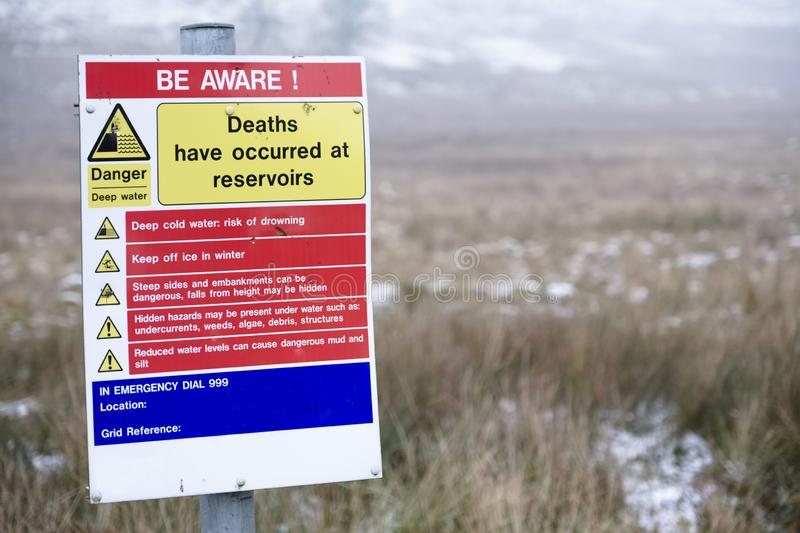 Reservoir deaths safety danger sign at deep water countryside park. Uk royalty free stock images