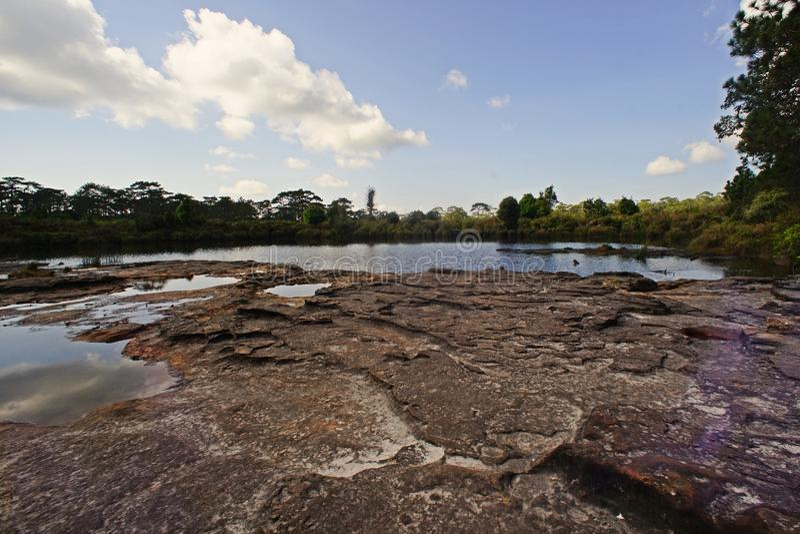 Reservoir en /flowing-stroom royalty-vrije stock foto