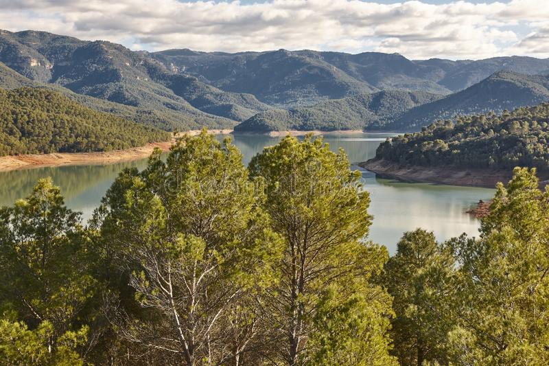 Reservoir and mountain landscape in Cazorla, Andalucia. Tranco Beas. Spain. Reservoir and mountain landscape in Cazorla, Jaen. Tranco Beas. Spain stock images