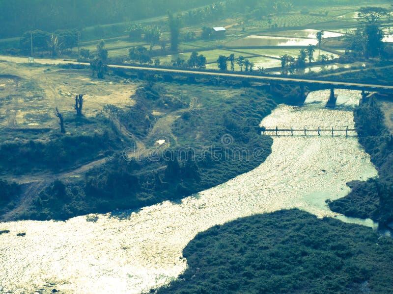 Reservoir van Chanel en het nabijgelegen van Mae Suay van het padiegebied, Chiang-rai, Tha royalty-vrije stock afbeeldingen