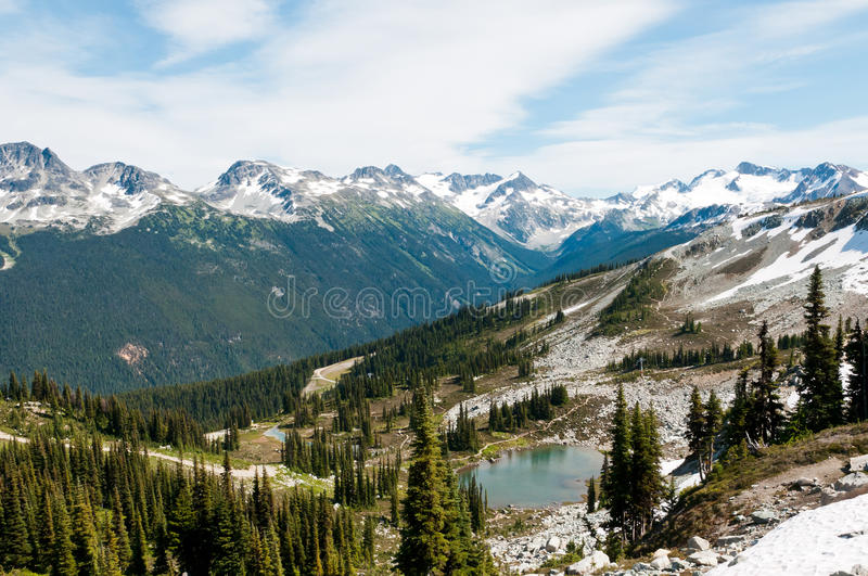 Reservoir on Whistler Mountain. Reservoir at Whistler, and view of Blackcomb Mountain stock image