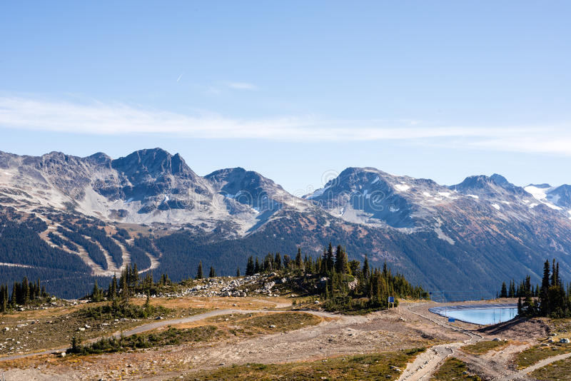 Reservoir on Whistler Mountain. The reservoir on Whistler Mountain with a view of the trails on Blackcomb Mountain, close to Vancouver royalty free stock photo