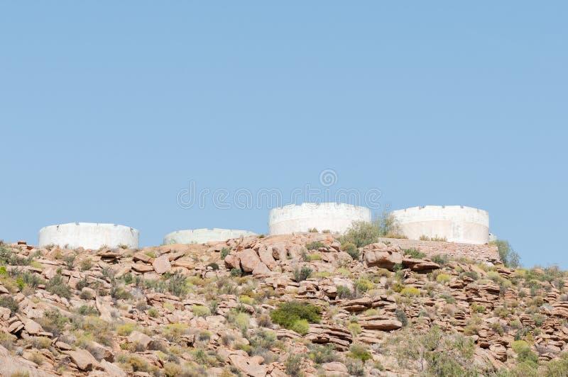 Reservoirs op een heuvel buiten Okiep royalty-vrije stock afbeelding
