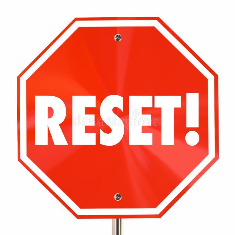 Reset Stop Sign Start Over Begin Again Fresh vector illustration