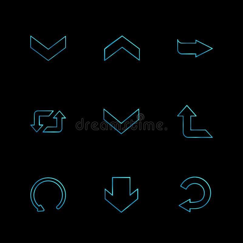reset, w górę, następny, strzała, kierunki prawi, lewy, pointer royalty ilustracja