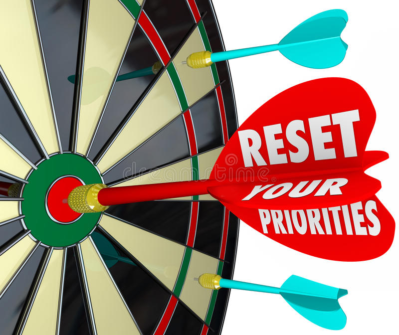 Reset Your Priorities Dart Board Changing Order Most Important J. Reset Your Priorities words on a dart board to illustrate targeting most important jobs or royalty free illustration