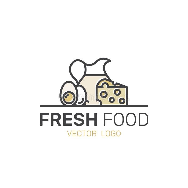 Resh鸡蛋、乳酪、日志和奶制品 农场和有机标志 皇族释放例证