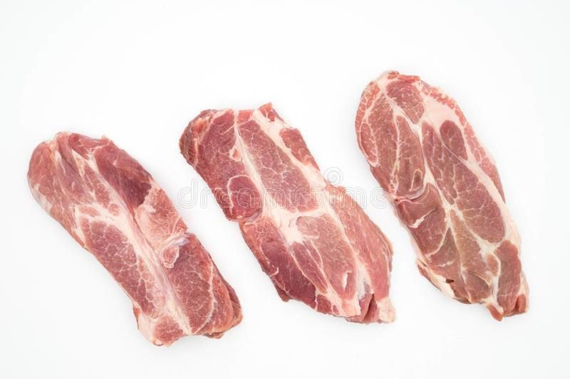 resh raw pork neck meat garlic pepper and rosemary isolated on white stock image