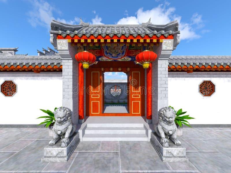 Residência e pátio do estilo chinês ilustração royalty free