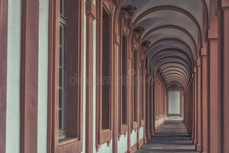 Residence castle in Rastatt,Germany-oval corridor royalty free stock photography