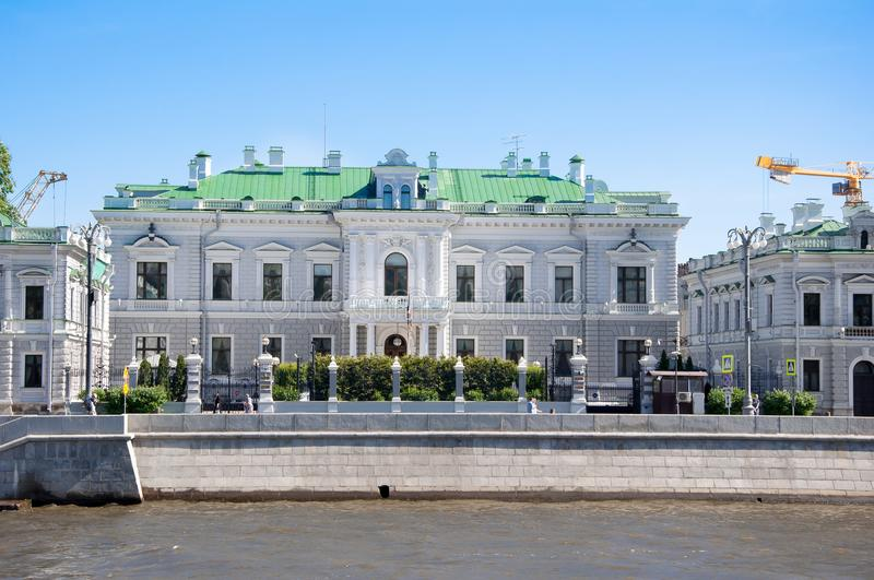 The residence of the English Ambassador is the former mansion of Pavel Ivanovich Kharitonenko on the Sofia embankment. Moscow , Russia-May 272018: The residence stock photography