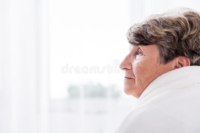 Resident of care home. Portrait of female elderly resident of care home royalty free stock photos