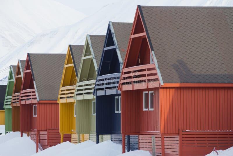 Residentalhuizen in Longyearbyen, Spitsbergen (Svalbard) Norwa royalty-vrije stock foto