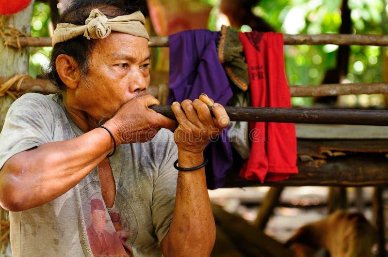 Residentes de la isla indonesia Borneo imágenes de archivo libres de regalías