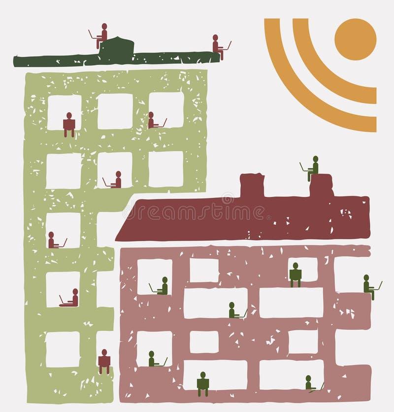 Residentes de un edificio usando las redes sociales RSS stock de ilustración