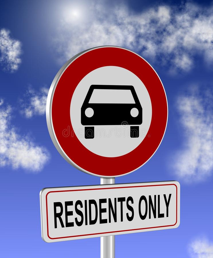 Download Residenti soltanto illustrazione di stock. Illustrazione di traffico - 30831300