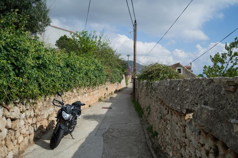 Residential Alley with Motorcycle in Dubrovnik, Croatia stock images