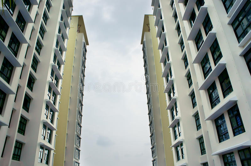 A residential apartment block. Two new high raise residential apartment block facing each other stock images