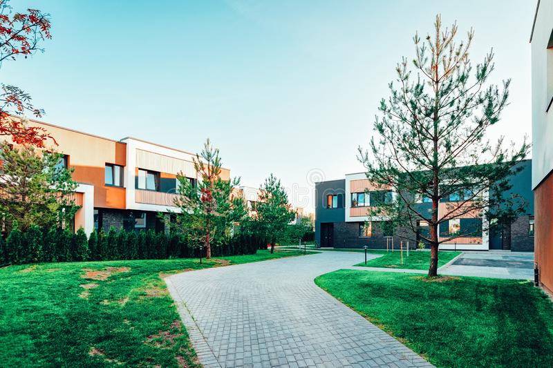 Residential Apartment home facade architecture and outdoor facilities. Blue sky on the background stock photography