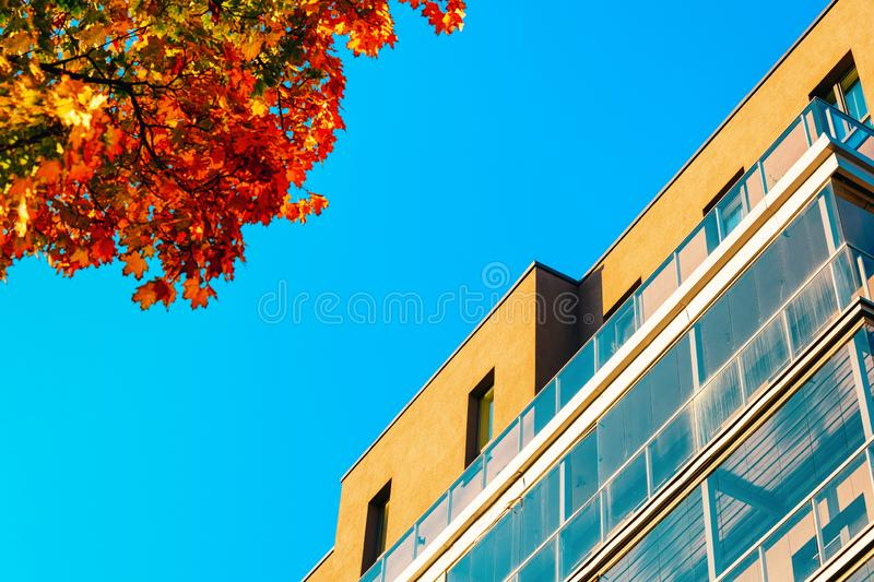 Residential apartment house facade and empty copy space. Residential apartment house facade and an empty copy space. Blue sky on the background royalty free stock images