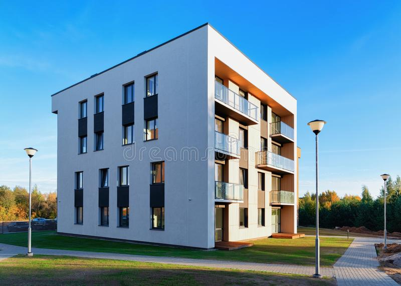 Residential Apartment house home facade architecture and outdoor facilities. Residential Apartment house and home facade architecture and outdoor facilities stock image