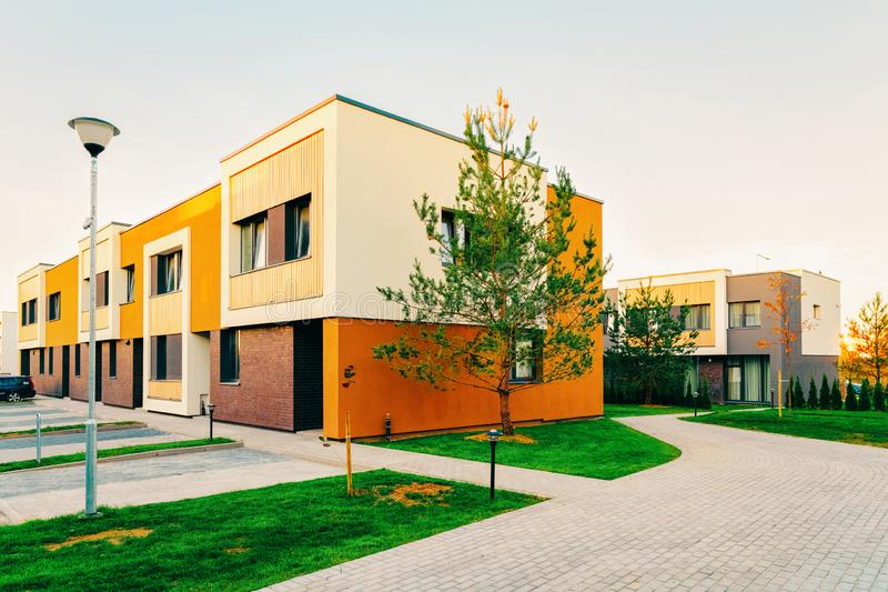 Residential Apartment townhouses facade architecture with outdoor facilities. Blue sky on the background royalty free stock photo