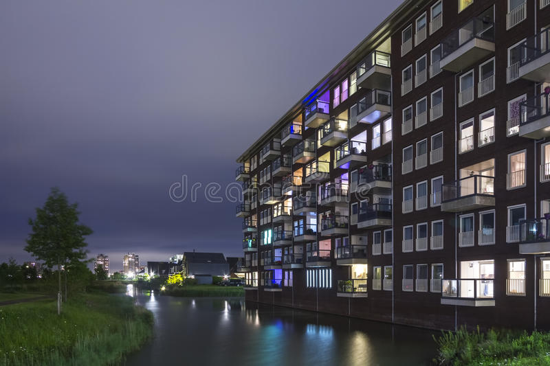 Residential appartment complex at night stock photos