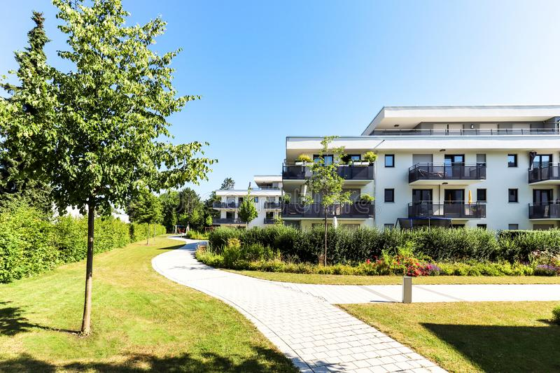 Residential area with apartment buildings in the city. With green outdoor facilities, Europe royalty free stock photography