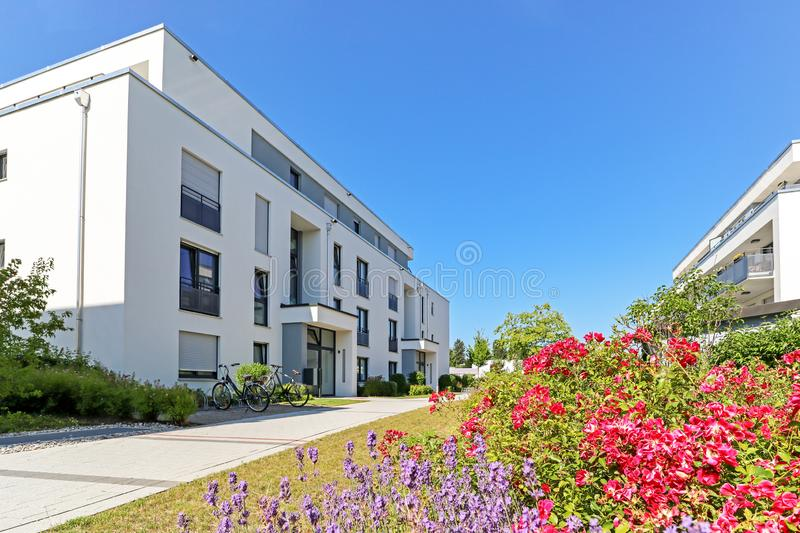 Residential area with apartment buildings in the city. With green outdoor facilities, Europe royalty free stock images