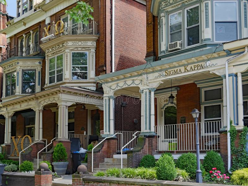 University of Pennsylvania, has many large old houses with large porches used as fraternity and sorority houses. The residential area around the University of stock images