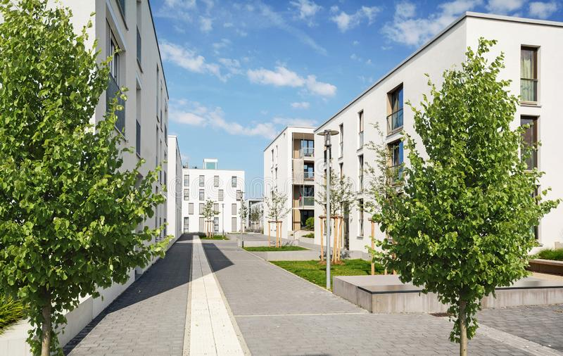 Residential area in the city, modern apartment buildings. Europe stock images