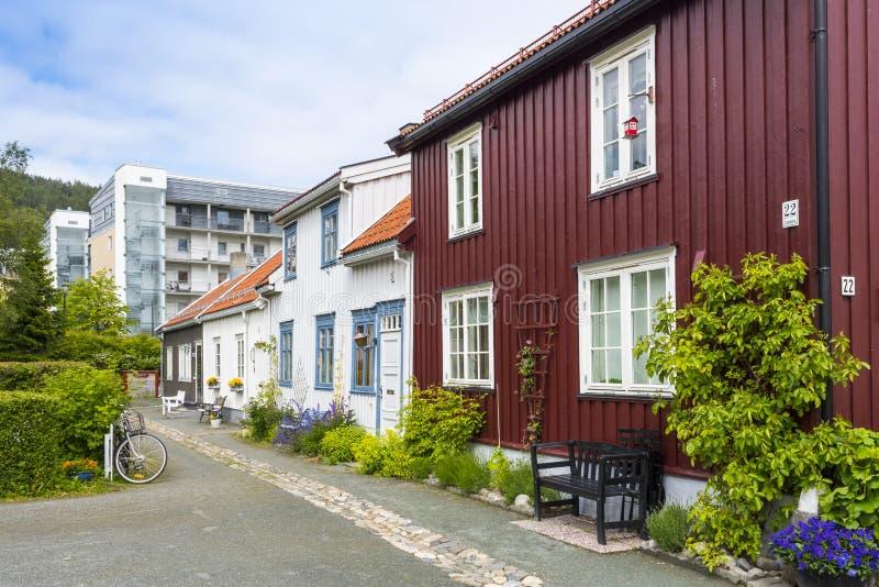 Residential area Ilsvikora Trondheim. Residential area Ilsvikora (Norwegian: Ilsvikøra) with old and modern buildings, Trondheim, Norway stock image