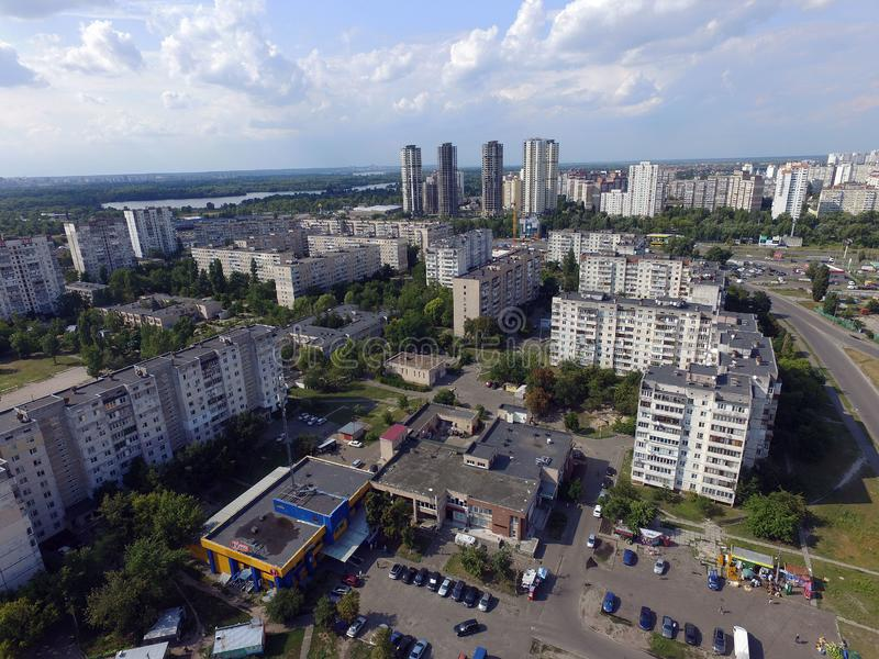 Residential area of Kiev at summer time drone image stock photo