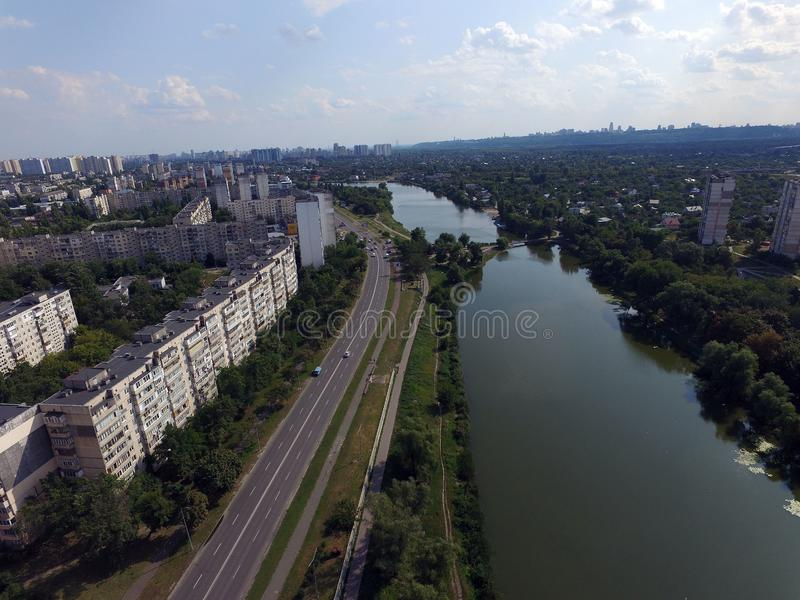 Residential area of Kiev at summer time drone image. Kiev, Ukraine. Summer time in the city royalty free stock images