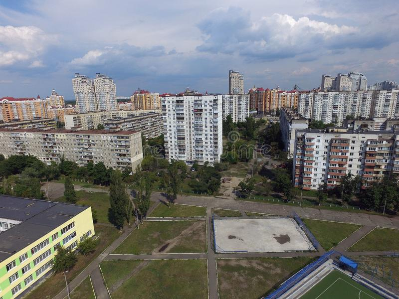 Residential area of Kiev at summer time drone image. Kiev, Ukraine. Summer time in the city royalty free stock photos