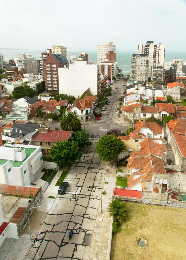 Residential area by the sea in Mar del Plata, Argentina. Panoramic view of a residential area by the sea. Mar del Plata, Buenos Aires, Argentina royalty free stock photos