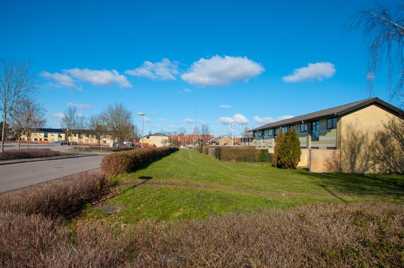 Residential area in town of Hoeng in Denmark stock photography