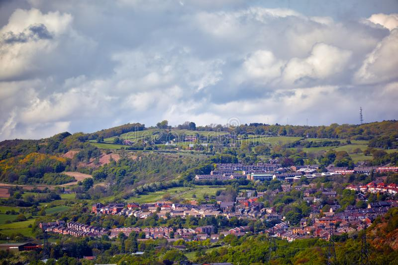 Residential areas of townhouses in South Yorkshire. England. The bird\'s eye view of the residential areas of townhouses in countryside of South Yorkshire royalty free stock photo