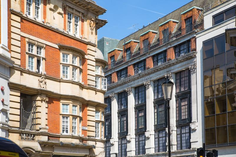Residential aria of Kensington with row of periodic buildings. Luxury property in the centre of London. Kensington church street. stock image