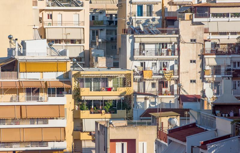 Residential blocks. Mess around of Residential blocks apartments, buildings, flats.Piraeus,Greece stock photography