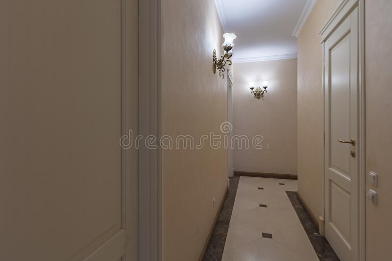 Apartment doors entrance. Residential building apartment doors entrance with door bell royalty free stock image