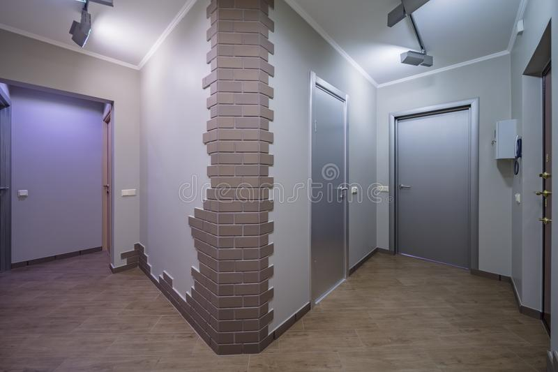 Apartment doors entrance. Residential building apartment doors entrance with door bell royalty free stock photo