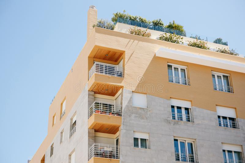 Residential building with balconies in Lisbon in Portugal. European housing stock images
