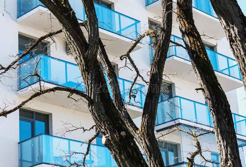 Residential building balconies with trees in foreground. New residential building balconies with tree trunks and branched in foreground royalty free stock photos