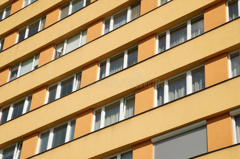 Block of Flats. Residential building block with many flats royalty free stock images