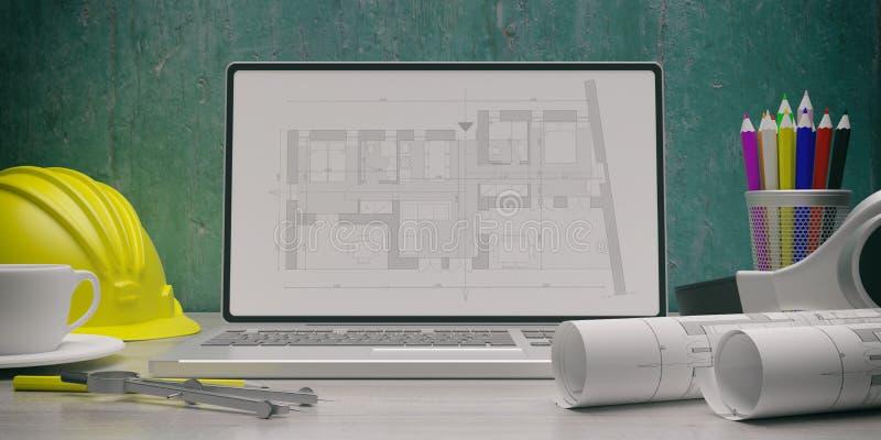 Residential building blueprint plan on a laptop screen. 3d illustration vector illustration