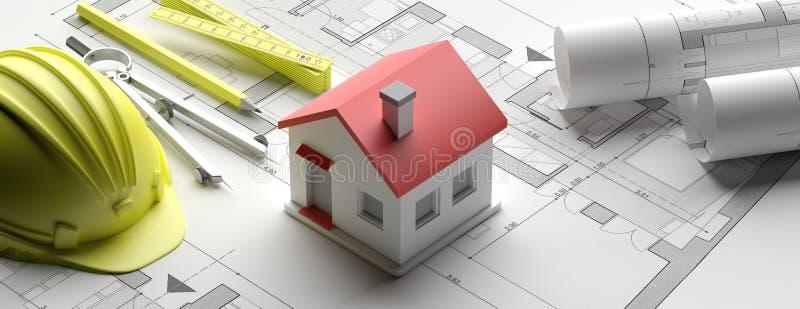 Residential building blueprint plans and house model, banner. 3d illustration vector illustration