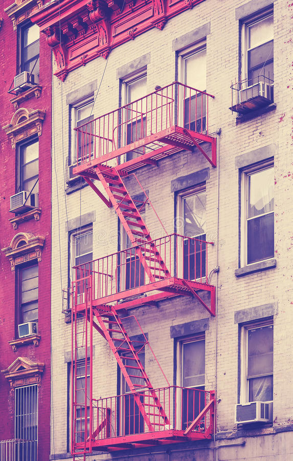 Residential building fire escape in Manhattan, New York, USA. royalty free stock images