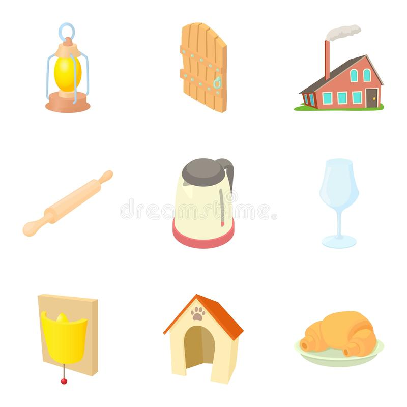Residential building icons set, cartoon style royalty free illustration