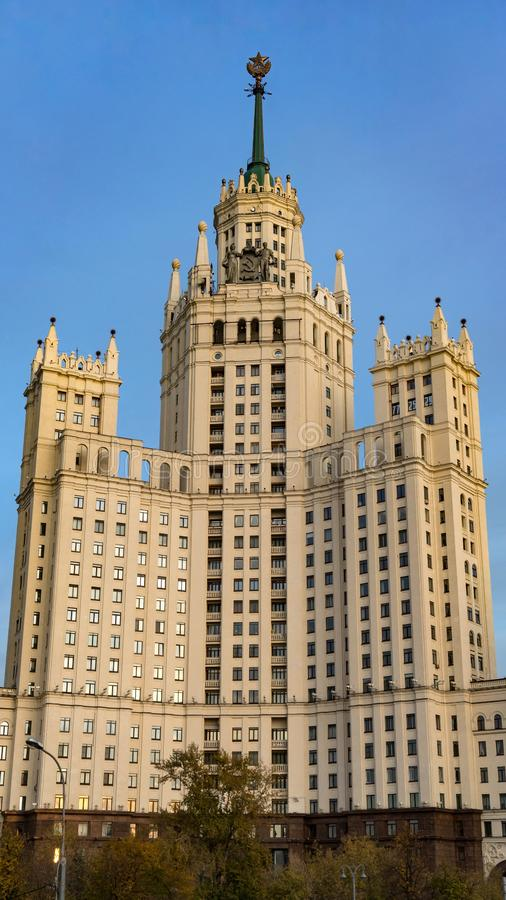 Residential building on Kotelnicheskaya Embankment, one of seven Stalinist skyscrapers in Moscow. Residential building on Kotelnicheskaya Embankment, one of royalty free stock photography